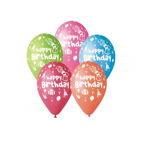 "BALONY PASTELOWE ""HAPPY BIRTHDAY"" -30 cm-5 szt"
