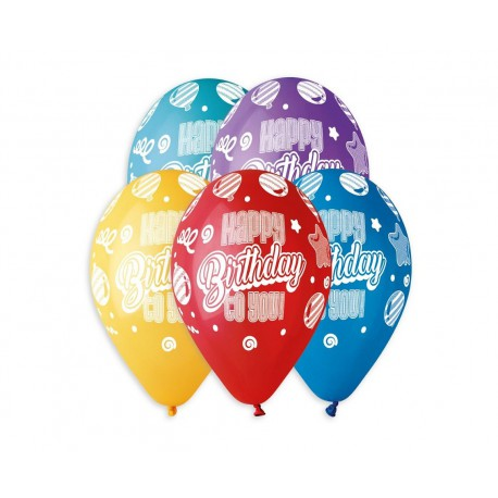 "BALONY  ""HAPPY BIRTHDAY TO YOU"" - 30 cm-5 szt"