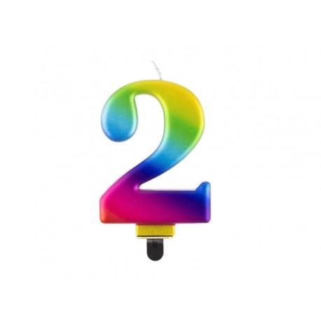 """ŚWIECZKA CYFRA TĘCZOWA """"2"""""""