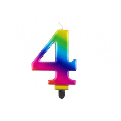 """ŚWIECZKA CYFRA TĘCZOWA """"4"""""""