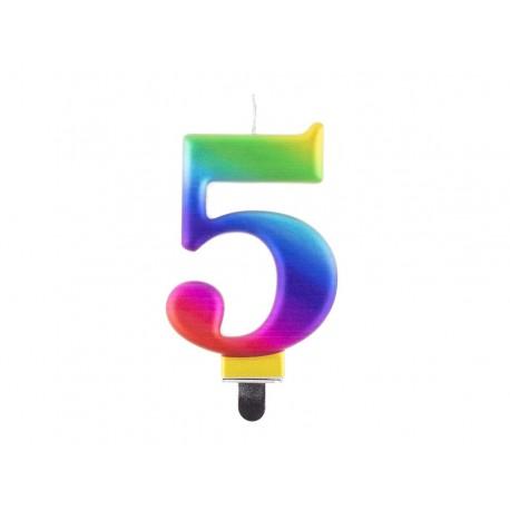 """ŚWIECZKA CYFRA TĘCZOWA """"5"""""""