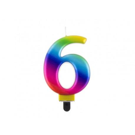 """ŚWIECZKA CYFRA TĘCZOWA """"6"""""""