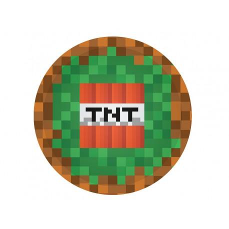 """TALERZYKI URODZINOWE """"PIKSELE TNT"""" - 18 CM - 6 SZT."""