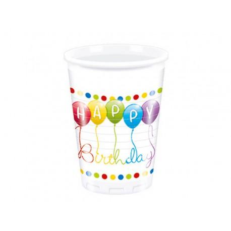 """KUBECZKI URODZINOWE """"HAPPY BIRTHDAY"""" - 200 ML - 8 SZT."""